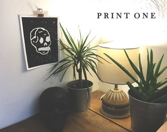 Skull Lino Print - Limited edition - 6 Different Designs