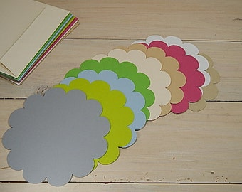 10 x Quality Large Round Scallop Shaped Flat Cards in 30% Recycled Vibrant Cardstock 12x 12cm / 5 x 5""