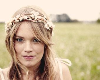 Boho bridal headpiece, Bridal crown, Woodland wedding wreath, Rustic woodland hair band, Ivory headpiece, Bridal wreath, Rustic wedding hair