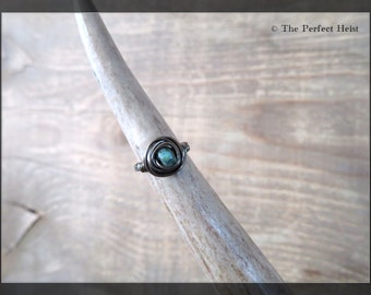Ring, Black, Hematite, Size 1, Wire, Wrap, Knuckle, Small Finger, Girls, Teal