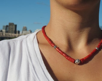 Coral and Sterling Silver Bali Bead Necklace