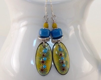 Handmade Yellow and Blue Earrings, Enameled Earrings, Silver Earrings, Yellow Earrings, Artisan Earrings, Boho Earrings, Silver, AE173