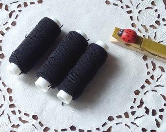 3 pcs - Black / White elastic shirring thread,  elastic sewing thread, dressmaking, craft (18 m each spool)