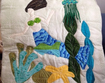 Mermaid quilted/appliqué Decorative Pillow.