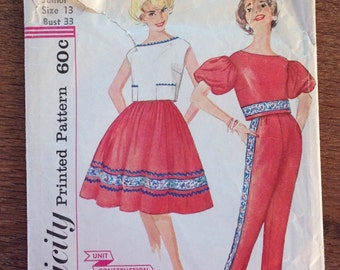 1950's Simplicity 3297 Pattern - Toreador Pants, Full Skirt , Cropped Back Button Blouse