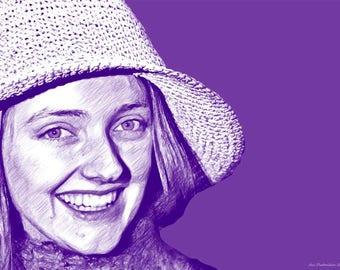 Wall art Pop art canvas female hat 25X16