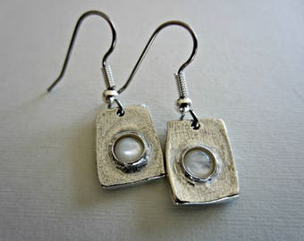 Sterling Silver Rectangular Hanging Earrings with Mother of Pearl Cabochon