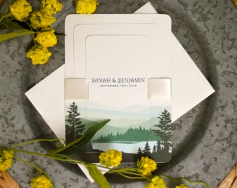 Green Appalachian Mountains and Lake Couple and Canoe Strata Layered Wedding Invitation w/ RSVP Postcard and Details Card  - BP1