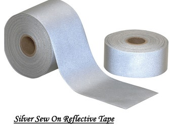 """Silver Reflective Sew On Tape Viz Grey 2"""" Wide Hi Visibility By Yard Lengths"""