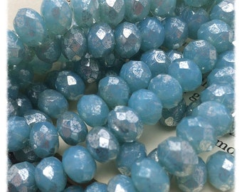Mercury Aqua Blue 7x5mm Czech Glass Rondells
