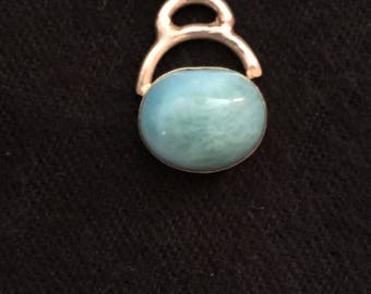 Vintage Larimar Stone Necklace, with Sterling Chain, Blue and White Stone, Mined near Caribbean