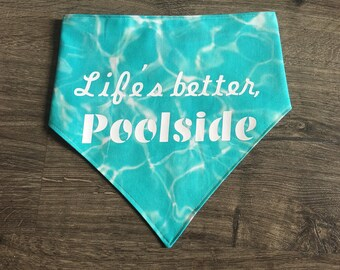 Poolside - reversible pet bandana - dog bandana - cat bandana - unique pet accessory