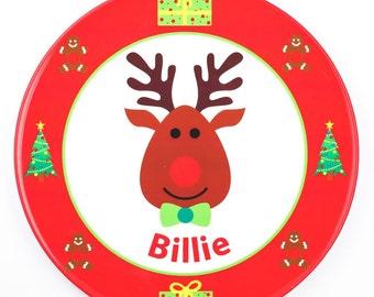 Personalised Christmas Reindeer Plate