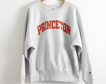 VTG 1990s Princeton University Champion Sweatshirt Sz. L Large Reverse Weave Heather Gray Crewneck Princeton Tigers Ivy League