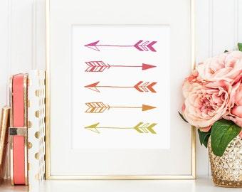 Arrow pink sunset printable wall art decor, arrows geometric print, minimalist art, pink orange yellow art, home decor, digital download JPG