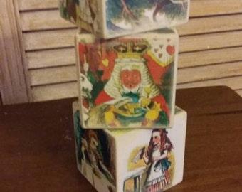 3 Alice in wonderland picture blocks cubes