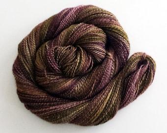 Handspun BFL/Silk Yarn - Lt. Fingering Weight, 320 yards - purple, green, brown
