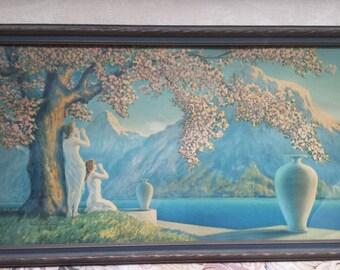 Vintage Framed Print,Love's Echo, 1920 Henri G. Renard Print reduced, 50%!!