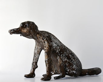 Metal dog sculpture, Contemporary art, metal sculpture, 3d art, Housewarming, Decorative art, Rustic home decor