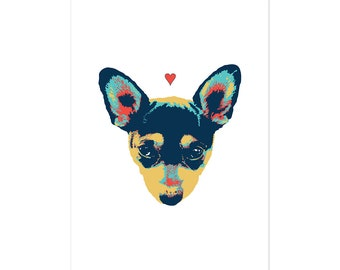Pet Thoughts, dog art print 5x7 Animal Art Chihuahua Dog, illustration, home decor, Nursery, wall art, dog art, postcard