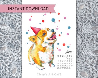 Printable Customizable Celebration Corgi Calendar || For Corgi Lovers || Printable PDF