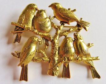 JJ Jonette Gold Tone Flock Of Birds In Tree Brooch Pin