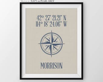 Our First Home Housewarming Gift Gps Coordinates Gift New Home Gift Address Sign Custom Address Sign Home Coordinates Compass Rose New House