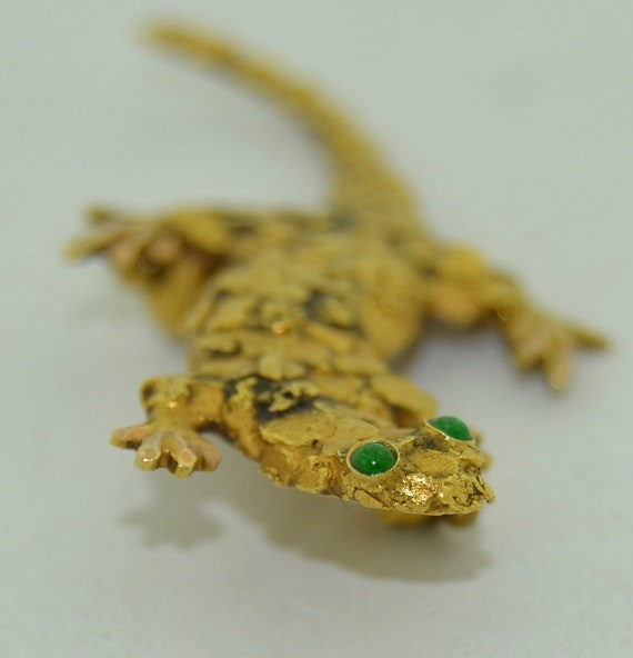 Antique 22K Gold Klondike Gecko Brooch Pendant