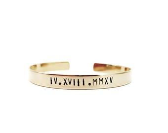 roman numeral bracelet | custom cuff bracelet | personalized cuff bracelet | hand stamped brass gold cuff