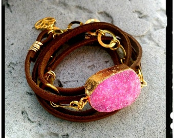 Pink or Blue Sugar Druzy • Boho Wrap • Soft Brown Leather//Gold Ring Links//Lotus - 4X Wrap - Choose Color - Bohemian/Gypsy/Hippie