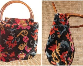 Vintage CarpetBag Purse Handbag Etched Velvet Tapestry Bohemian Carpetbagger 60's 70's Black Sculpted Velvet Boho Hippie
