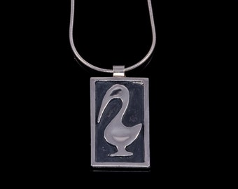 Silver duckling pendant - Sterling silver