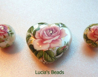 NEW LOVELY Pink Rose on Pearl Heart Japanese Tensha Bead Set