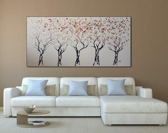 Large Art abstract wall art painting on canvas surreal tree painting, Large size painting, by Tomer Sharabani