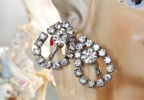 Rhinestone Earrings  /Screw On
