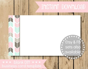 Blank DIY Business Card - Pastel Arrow - Do It Yourself Blank Business Card Template - Arrow Blank Business Card - INSTANT DOWNLOAD