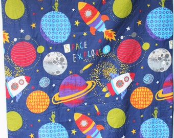 space rocket quilt,boy child quilt,space explorer blanket,sofa throw,car blanket,fleece back,toddler bed cover,planets aliens,Christmas gift