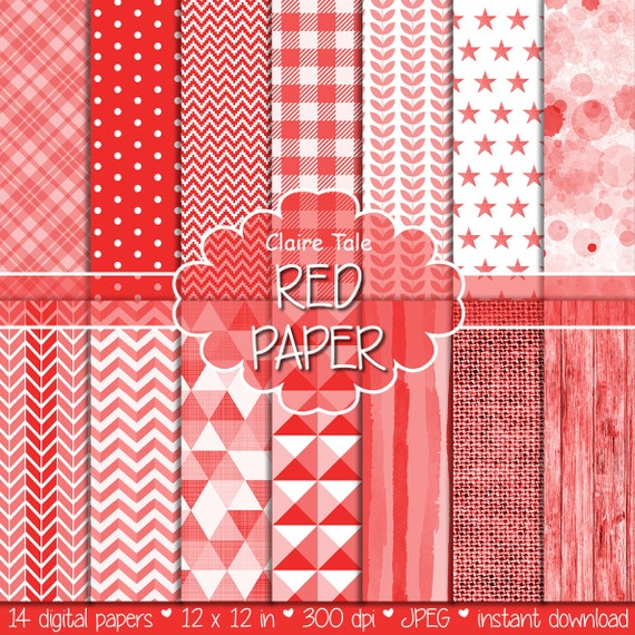 Red digital paper, Hot red printable background, Hot red scrapbooking paper, Hot red digital patterns, Hot red Valentine's digital paper