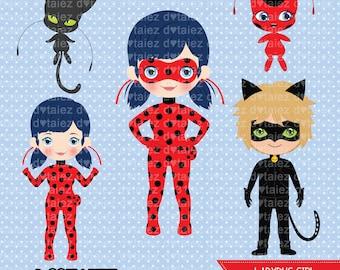 Ladybug girl, ladybug clipart, marinette, cat noir, miraculous clipart