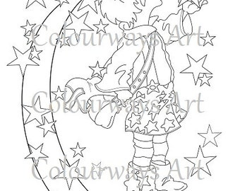 """Printable Colouring Sheet / Digistamp ~ Instant Download ~ """"Little Star"""" Fairie Art"""