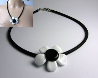 Necklace with large white-black glass flower, Lampwork,