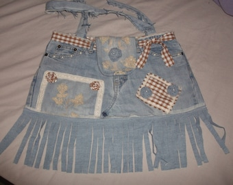 Jeans Bag Beach Bag Boho Tote Handbag shabby chic upcycled OOAK
