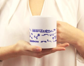 Blueprint Saxophone Mug - Music Mug - Mug with Saxophone Print - Gift For Music Lover - Gift For Saxophonist