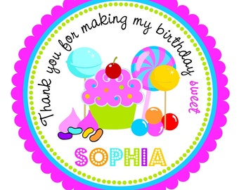 Candyland Stickers, Sweet Shoppe, Personalized Labels, Candyland Birthday Party  - set of 12
