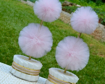Pink and Gold Baby Shower Centerpieces, Diaper Cake Topiary Centerpieces - Tulle Decorations - Tulle Pom Pom - Baby Girl Shower Decorations
