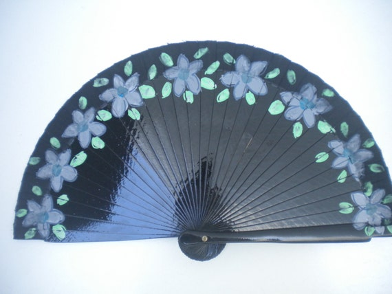 MTO Pale Gray and Blue Flowers Black Tiny Hand Fan Wood Hand Painted Floral Border