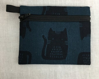 Cat Zipper Coin Purse, Credit Card Wallet, Earbud Pouch, Music Player Holder