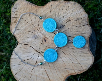 Polymer clay necklace Polymer clay creations Circle necklace Stamp jewelry Polymer clay jewelry Summer necklace Turquoise necklace OOAK