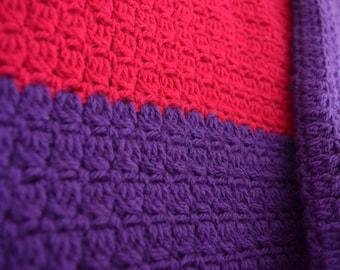 Crochet Baby Blanket Magenta and Purple, Baby Shower Gift, Lap Blanket