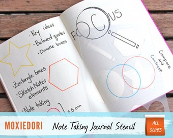 """Sketch Notes Shapes Stencil - Bullet Point Journal Stencil, fits Leuchtturm and Moleskine 5"""" by 7"""""""